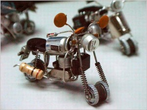 Motorcycle from radio parts.