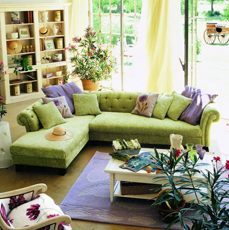 The green sofa in the living room is the most popular furniture option of this color.