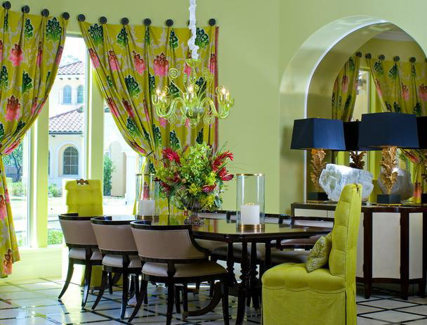 green chairs and curtains in home decor