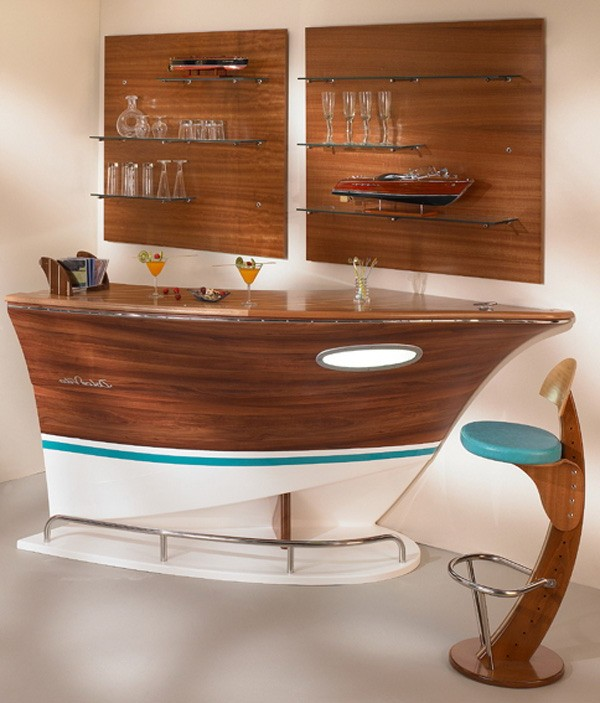 Unusual shaped bar counter in the form of a ship in an apartment