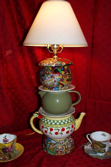 table lamp from kettles and cups