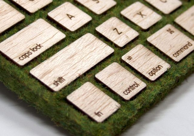 Wooden keyboard with grass cover