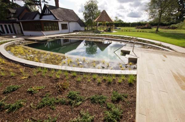 Round artificial pond swimming pool at the cottage