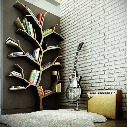 unusual book shelves in the form of wood