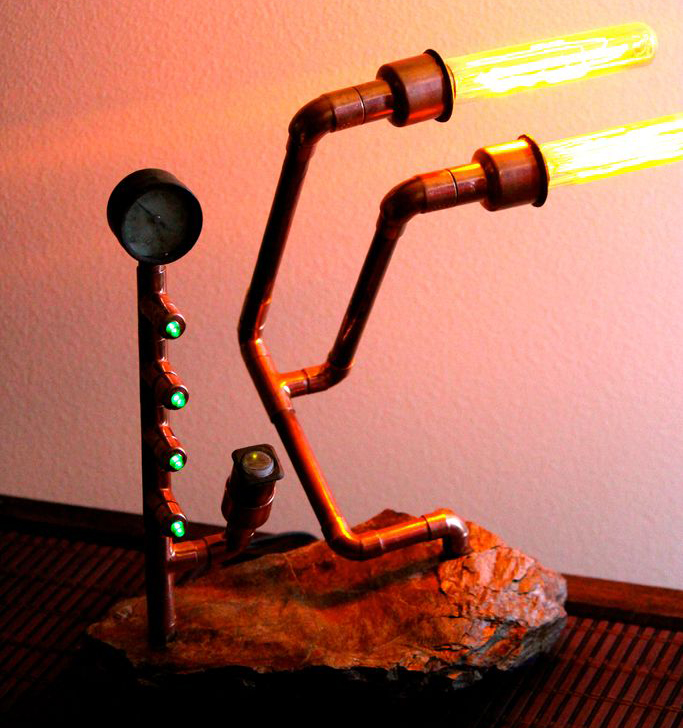 Unusual lamp in steampunk style