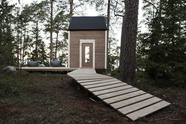 wooden mini summer house of less than 10 square meters
