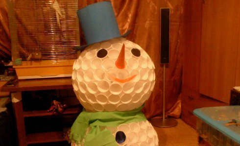 New Year snowmen from cups own hands