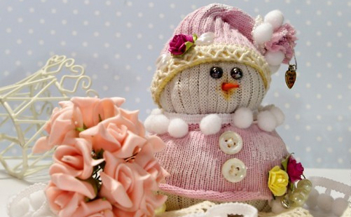 New Year snowmen from socks with their own hands