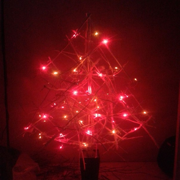 Christmas tree of branches by own hands