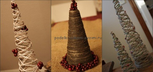 New Year's tree from improvised materials with their own hands. winter handmade items