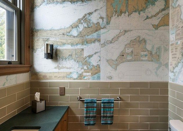 wallpaper in the bathroom world map