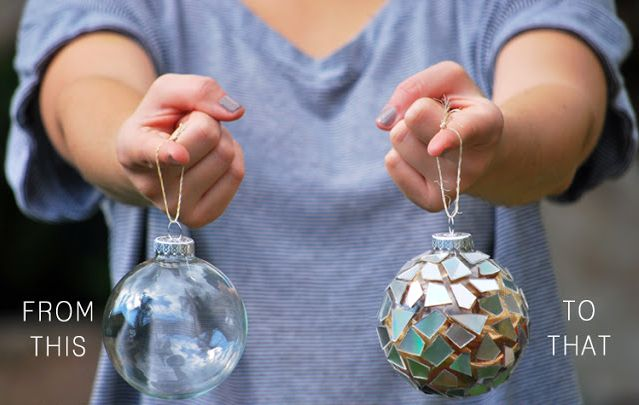 master class Decor of Christmas balls with mosaic made of CD