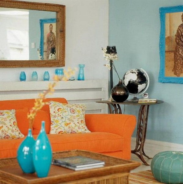Orange sofa combined with blue