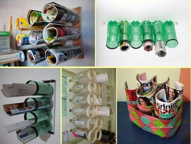 Organizers of plastic bottles with their own hands