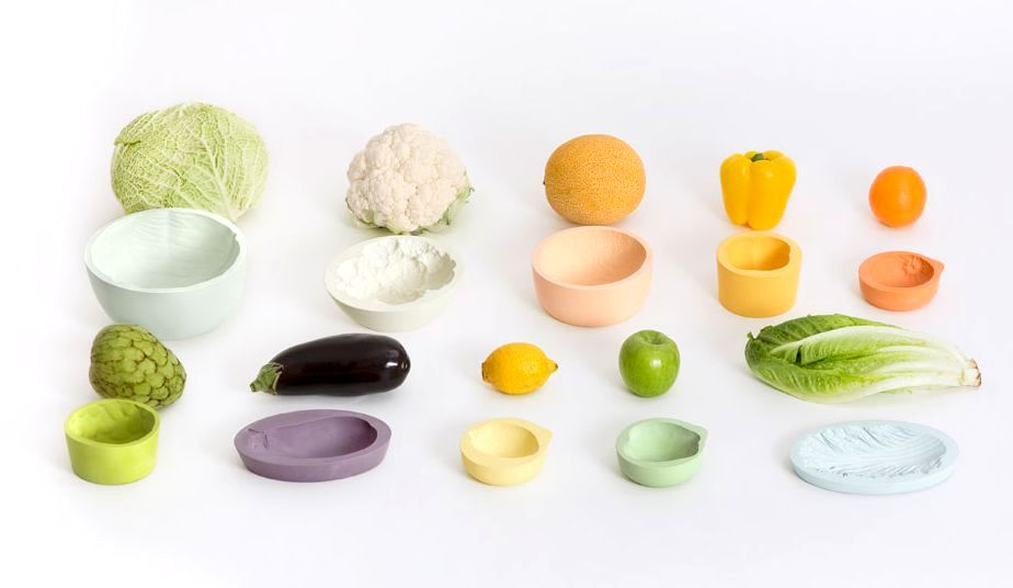 Tableware in the form of vegetables and fruits