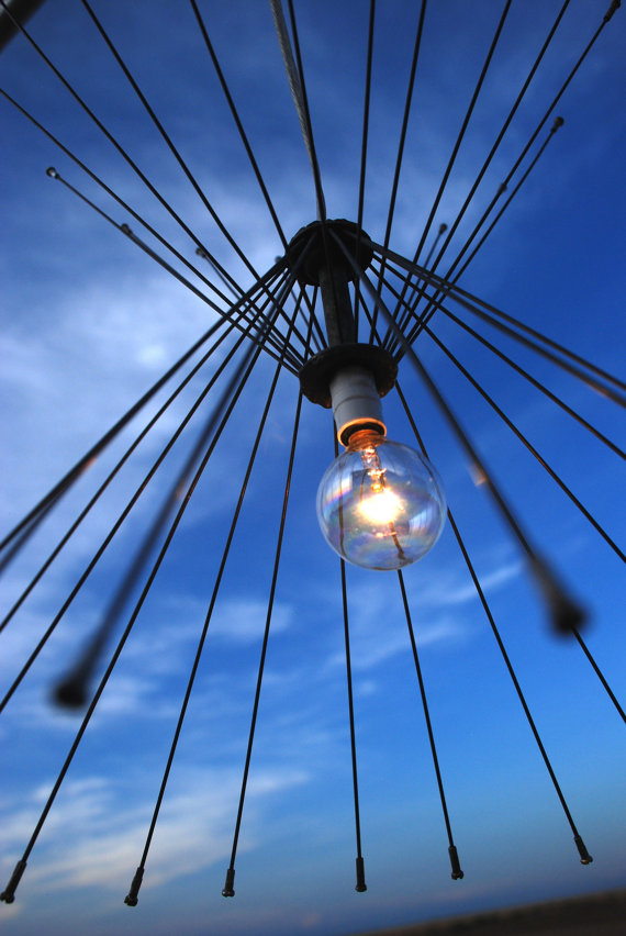 Original lamps with their own hands made of wheels and spokes