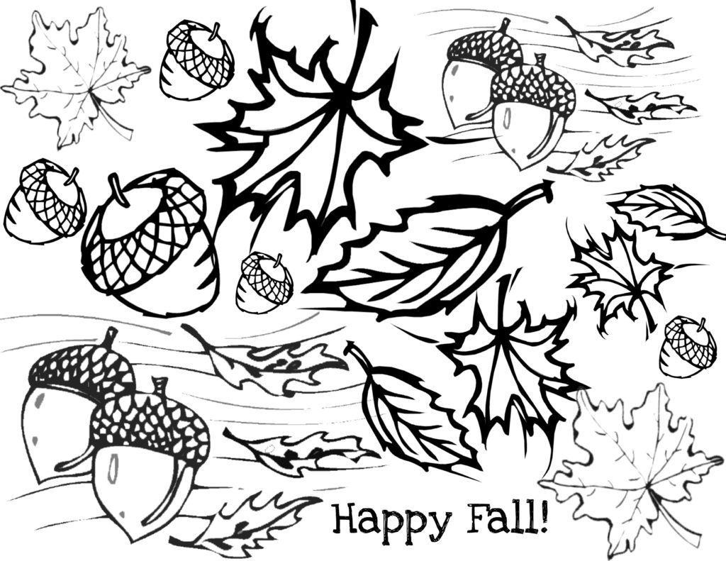 In kindergarten Autumn coloring pages for children print.