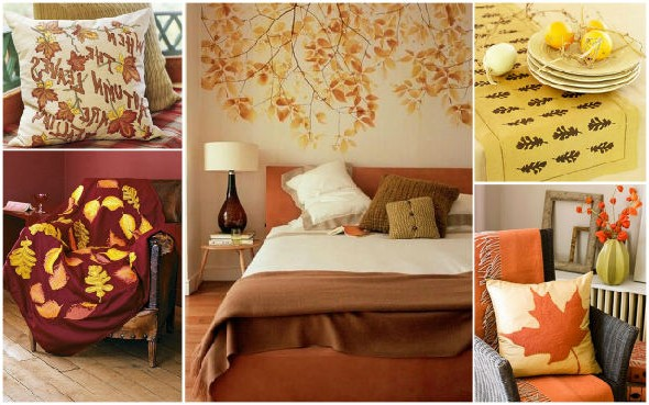 Textiles for creating an autumn interior photo
