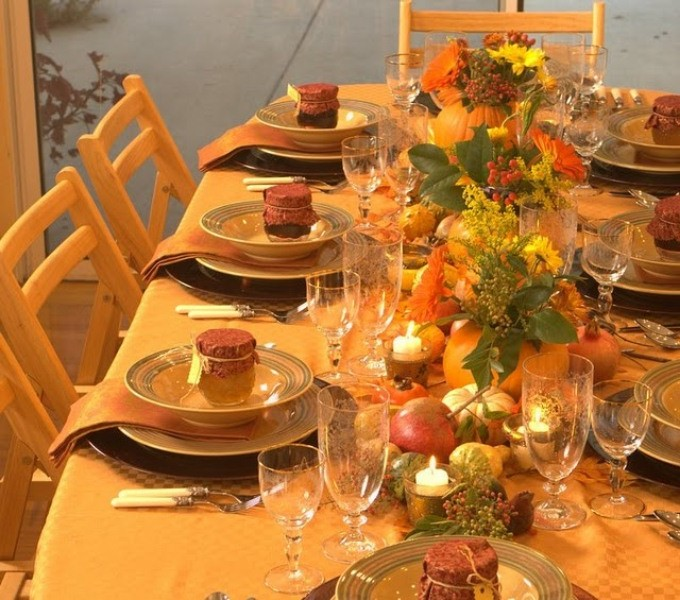 Autumn festive table decor: tablecloth and napkins