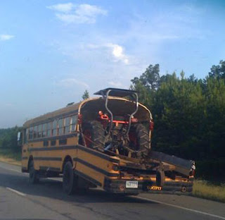 Transportation of equipment by bus.