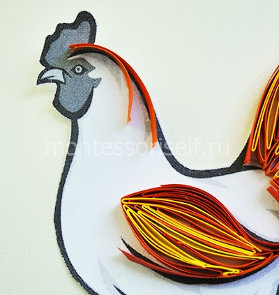 Rooster quilling with your own hands