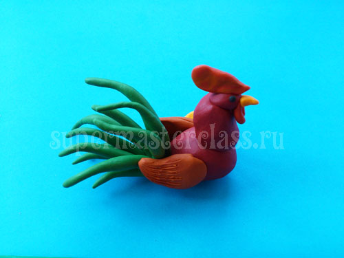 How to make a plasticine rooster in stages
