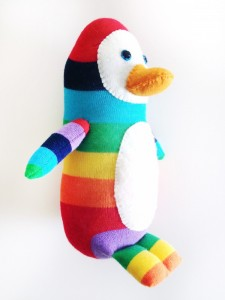 Penguin with his own hands. We sew a toy from a sock.