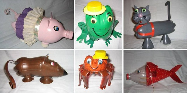 Animals from plastic bottles to decorate the garden, lawn or cottage
