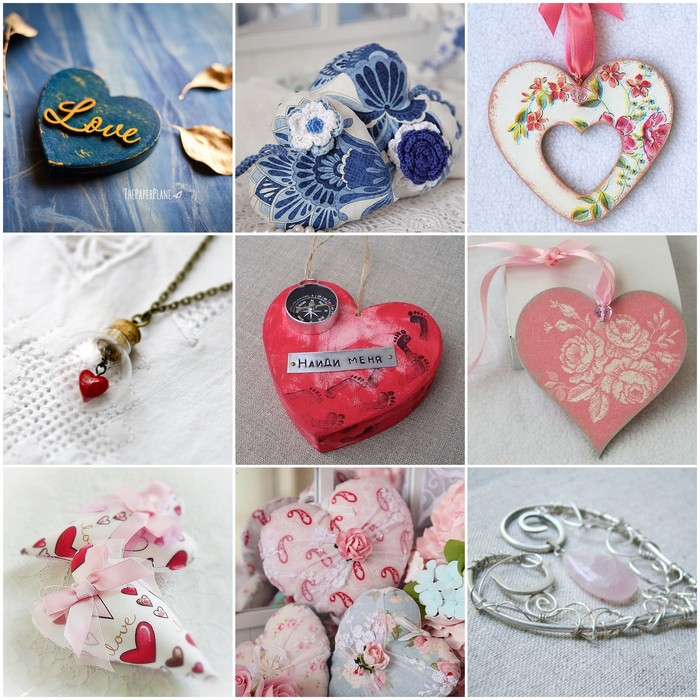 Pendants with hearts for lovers