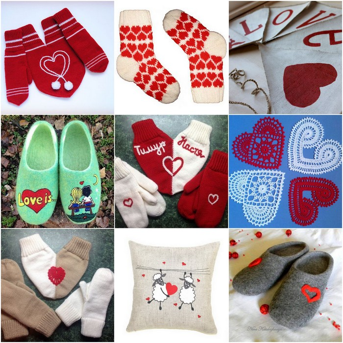 Cute slippers, socks and mittens for February 14