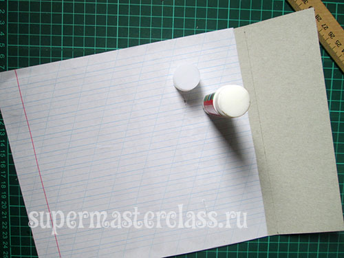 Glue with a sheet of notebook