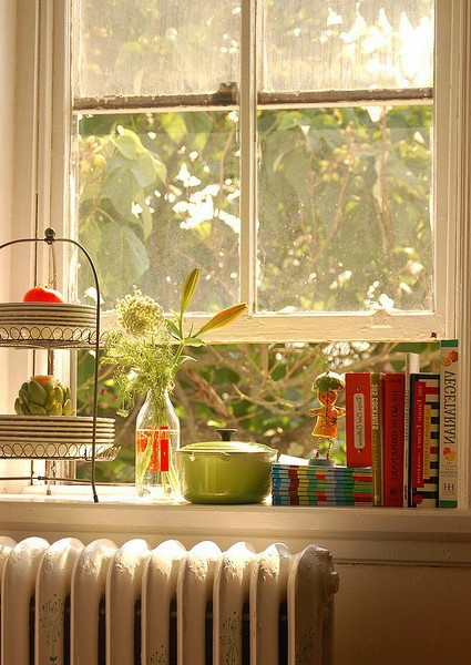 Library on the window: store your favorite books on the windowsill