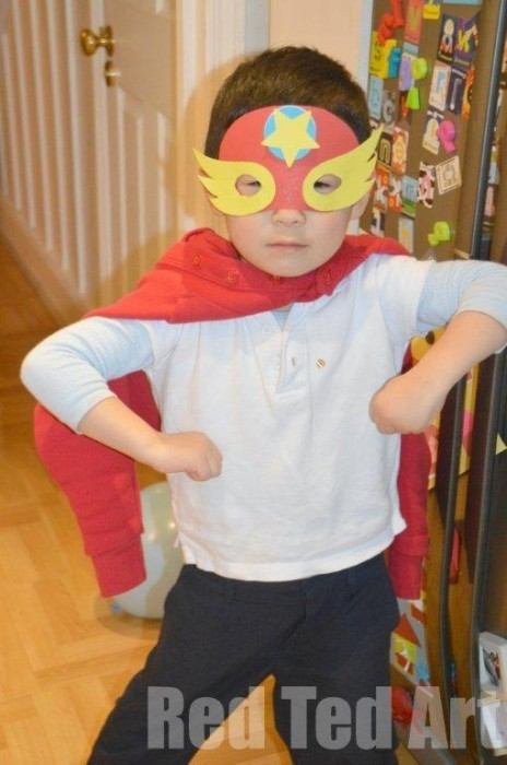 Crafts for children mask heroes from paper with their own hands.
