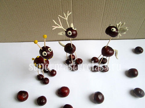 Crafts from chestnuts for kindergarten: photo