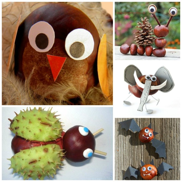 Crafts from chestnuts and acorns with their own hands