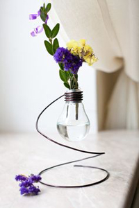 Vases for flowers made of light bulbs