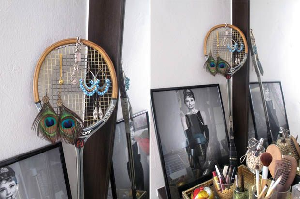 craftwork from rackets - stand for earrings