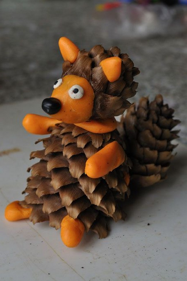 Crafts from cones with own hands - Fox