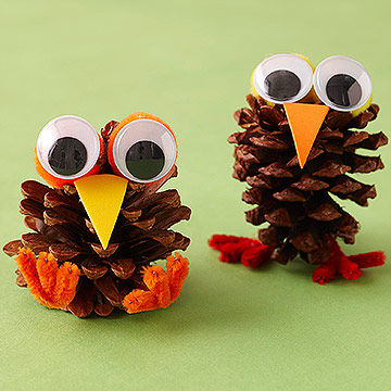 Crafts from cones by own hands - Birds