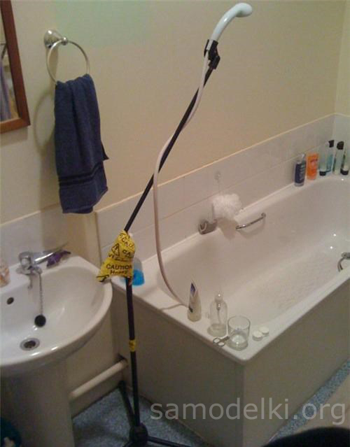 Microphone stand in the shower