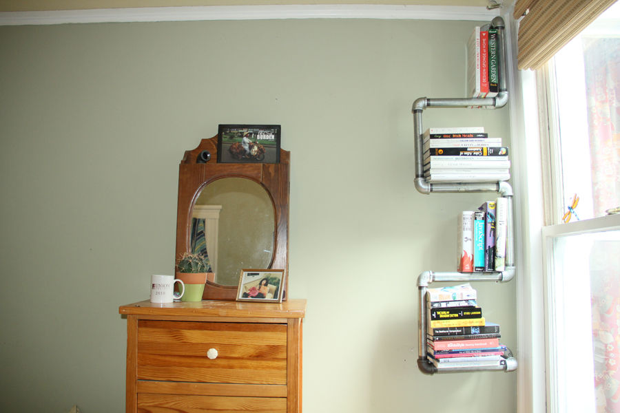 Shelves of metal pipes with their own hands