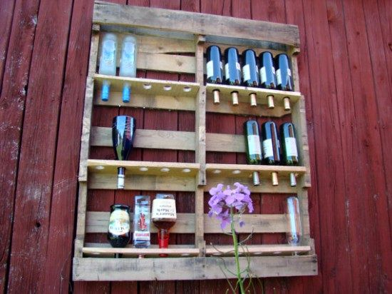 shelves made of wooden pallets