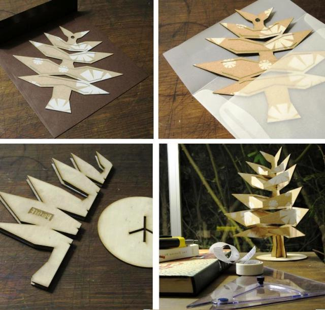 Pop tree modern artificial Christmas tree made of cardboard or wood
