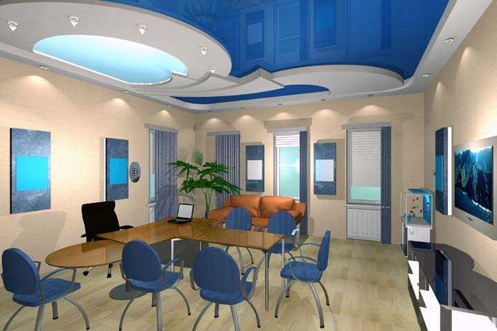 Blue ceiling in the dining room