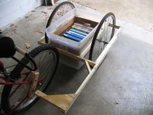 A self-made trailer for a bicycle.