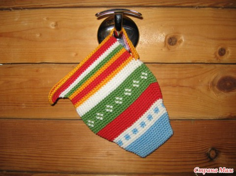 photo of knitted potholders