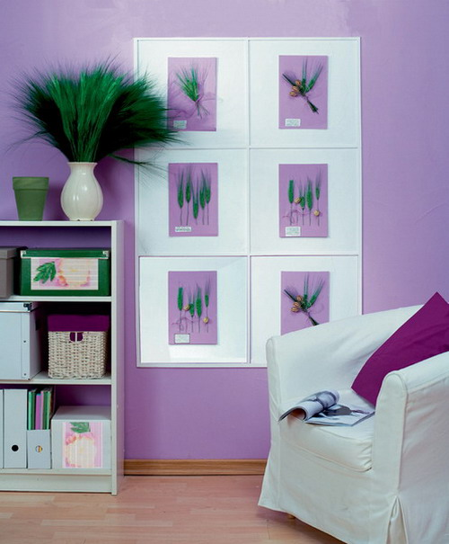 Tinted herbarium designs on a lilac background for room decoration in white and lilac