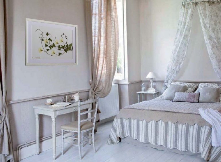 Delicate herbarium for a bedroom in a romantic style