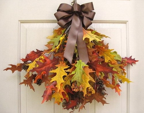 Bouquet of colorful dry oak leaves for decorating the front door