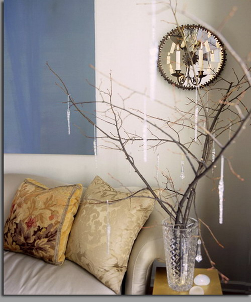 Dry branches with crystal pendants for room decor